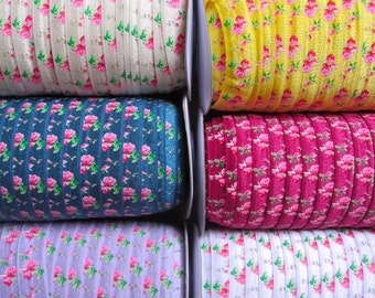 15mm floral elastic ribbon by 1meter, on, shop packaging, craft, wrapping flower elastic ribbon