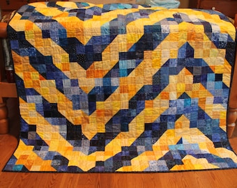 Blue and Yellow Single Bed Quilt