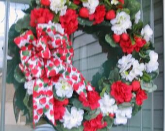 Strawberry Wreath, Strawberry and Geranium Wreath, Summer Cottage Wreath