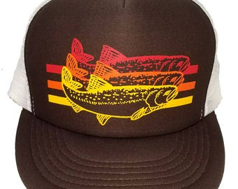 Trout Brown Striped  Snapback Mesh Trucker Hat Cap Fishing Fly