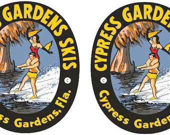 2 Vintage Reproduction Cypress Garden Decals