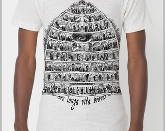 Hand Printed Men's Art T Shirt Ars Longa Vita Brevis American Apparel Casual Outfit XS, S, M, L, XL 9 COLORS