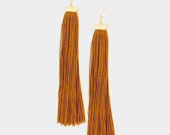 Camel Long Tassel Earrings
