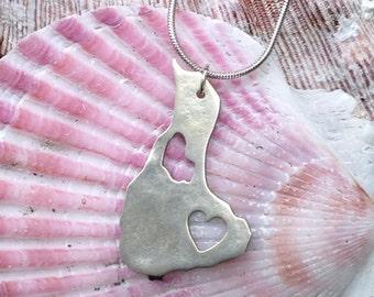 Block island heart pendant, sterling silver pendant, PMC pendant, metal clay pendant, block island pendant, nautical pendant