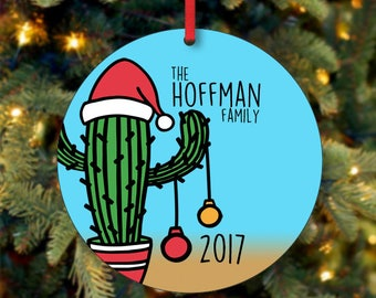 Family Christmas Ornament, Personalized Christmas Ornament, Cactus Ornament, Custom Ornament, Keepsake Ornament, 2017 Ornament  (0007)