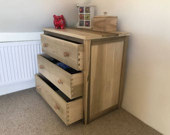 Beautiful Shaker Tulipwood 3 draw chest of drawers. Handcrafted in Great Britain.
