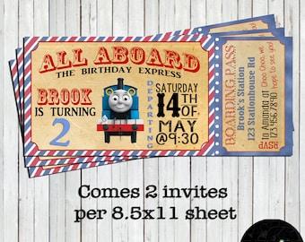 Thomas the Train, Thomas Invitation, Train Ticket, Train Invitation, Thomas Invite, Thomas the Train Invite, Thomas the Train, Ticket Invite