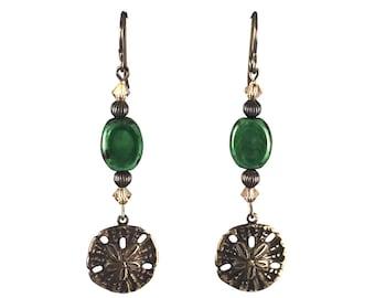 Green Dangle Earrings with brass Starfish