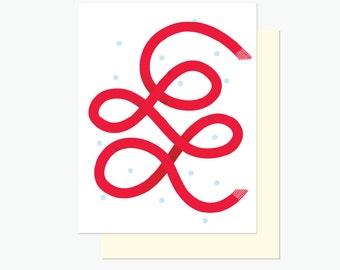 Carte de souhaits - Foulard rouge - Fêtes - Hiver