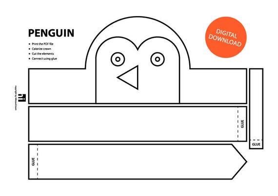 Penguin Paper Crown - Printable | Coloring Crown | Coloring Face ...