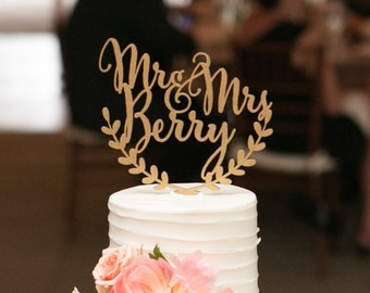 Custom Wedding Cake Topper, Personalized Cake Topper, Rustic Wedding Cake  Topper, Names Cake Topper, Leaf Design Topper, Gold Cake Topper