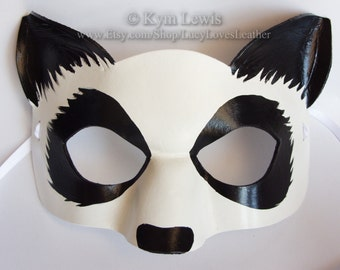 Panda Mask, Animal Masquerade, Made to Order, Black and White, Giant Panda, Masked Ball, Fursona Mask, Panda Furry Mask