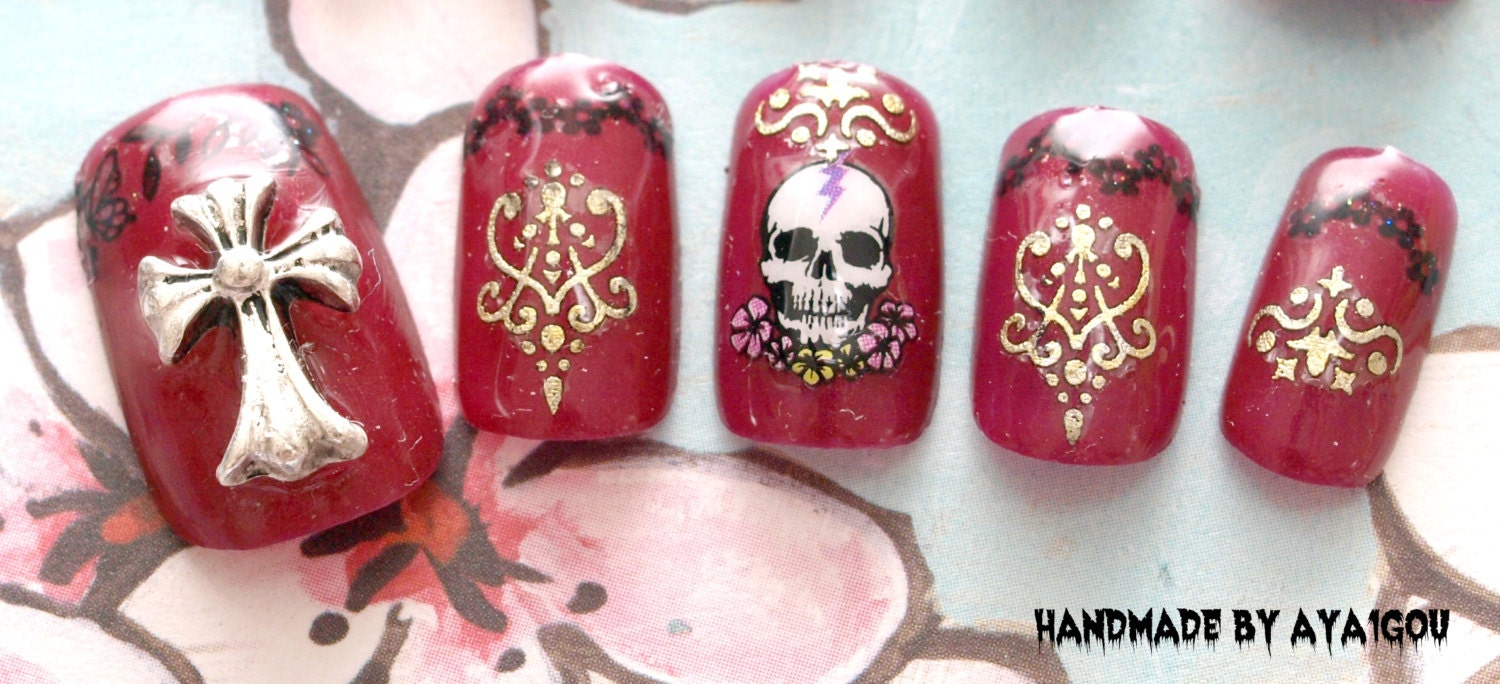 Goth nail dark red skull cool nail egl punk fake nails