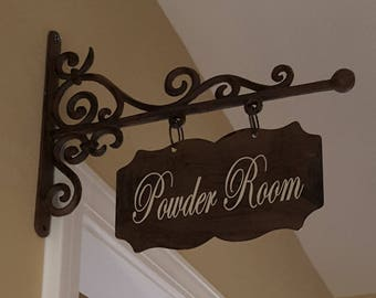 Small RECTANGULAR Metal Plaque and Bracket with Custom Lettering - Powder Room/Laundry/Pantry/Guest Room/Office/Bathroom/Bath/etc.