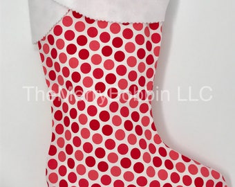 Red and Pink Polka Dots Christmas  Stocking, Polka Dots Stocking, Christmas Stocking, Personalized Stocking, Whimsical Stocking