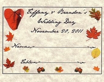 Qty 50 Fall In Love Autum Wedding Favor Place Cards