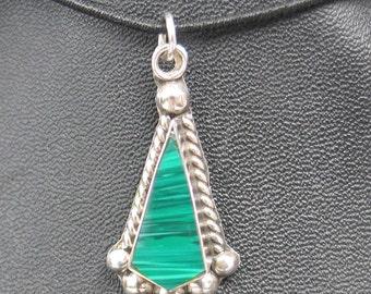 SALE Vintage Mexican Malachite Sterling Pendant