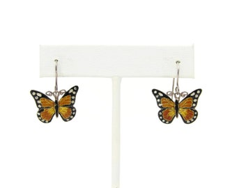 Sterling Silver & Enamel Monarch Butterfly Dangle Earrings