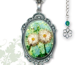 Dandelion Love Necklace - Glass Art Frame Jewelry - GeoForms Collection by Tzaddishop