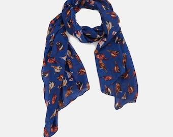 Birds printed scarf, Sparrow Birds printed scarf, Royal Blue scarf, Summer scarf, Gift scarf, Scarf On Sale,