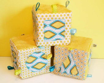 """SMALL price Trio of awakening cubes foam baby with shapes and designs """"yellow"""""""