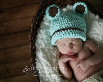 Crochet Baby Boy Bear Hat, Newborn Hat with Ears, Blue Baby Hat, Infant Animal Hat, Baby Bear Costume, Baby Bear Beanie, Newborn Boy Hat