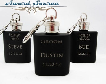 Groomsmen Gift Flask - Groomsman Flask Key Chain~ With Free Engraving ~ 1 oz Matte Black Flask ~ Stainless Steel 1oz Flask ~