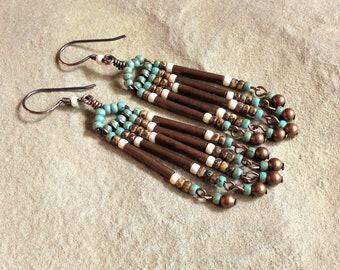 Beaded Fringe Earrings, Boho Dangles, Copper Jewelry, Brown & Beige Jewelry, Turquoise Dangles, Glass Bead Dangles, Handmade