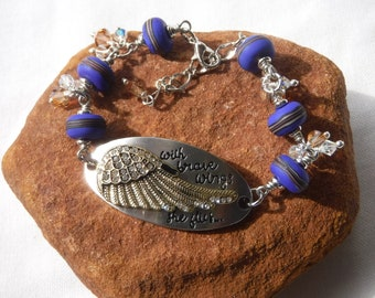 Wing Bracelet, Quote Bracelet, Inspirational Quote, Strong Woman, Blue Purple, Rhinestone, Brave Wings, Courage, Encouragement, Crystal