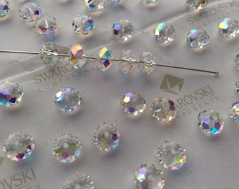 26 pieces Swarovski #5040 8mm Crystal Clear AB Briolette Rondelle Spacer Faceted Beads