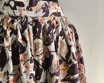 1950s Abstract Floral Cotton Full Skirt - 26 inch waist