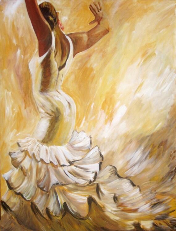 Flamenco Flamenco Dancer Painting In White Ruffled Dress