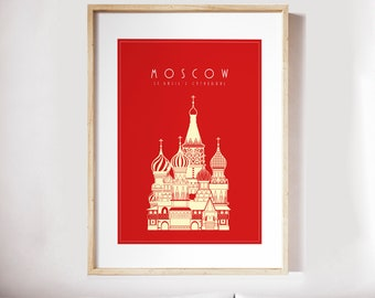 Moscow TRAVEL POSTER - Print, Watercolor Print, Vasily, Saint Basil's Cathedral, Watercolor Art, Minimalist Art, Home Decor, Gift PRINT