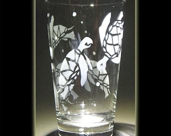 Hawaii Turtle Honu Pint Beer Glass Sandblasted