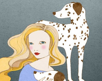 Dalmatians - girl with dalmatian dog - Print of original illustration wall art