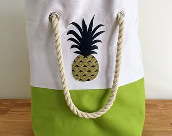 2 Sided Pineapple, Canvas Tote Bag, Shopping Bag, Birthday Gift, Craft Tote, Quote Tote Bag, Beach Bag
