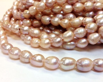 Full strand 10 x 12 - 13 mm Large Hole Freshwater Pearl Rice Beads - Blush Light Purple Mauve Pearl 3 mm hole 15 Inches (G3651W55)
