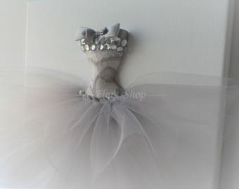"Tutu canvas ""Diamond waltz"". Princess dress wall art. Silver, grey and white princess dress canvas. A single 10x10 3D tutu dress wall decor."