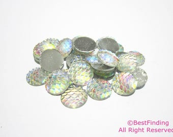 12mm Mermaid scales cabochons Flat back Dragon scale Fish scale Cabochons