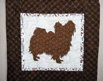Quilted Dog throw pillow - Papillon