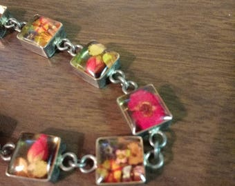 Vintage Lucite and Silver Bracelet with Real Dried Flowers