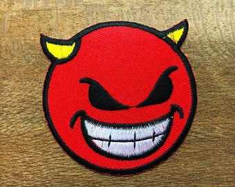 New Embroidered Iron on Patch Motif Applique Decal Embroidery Devil Face Smiley