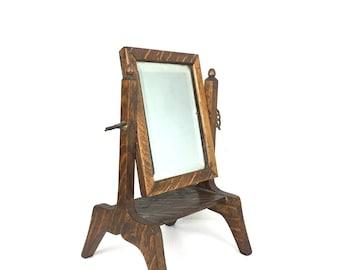 1910s Shaving Mirror Antique Oak Wood Ornate Shaving Mirror 1910s Tiger Stripe Victorian Shaving Mirror Vintage Wood Shaving Mirror