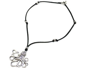 Genuine leather necklace!Boho jewelry!Black leather octopus pendant necklace!Nice gift for girls and women!