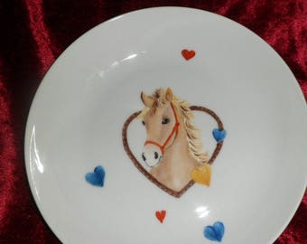 child's plate and Bowl personalized horse pattern