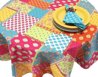 Colorful French Provence Tablecloth, Custom Size Tablecloth, Fun Tablecloth, Faux Patchwork Tablecloth