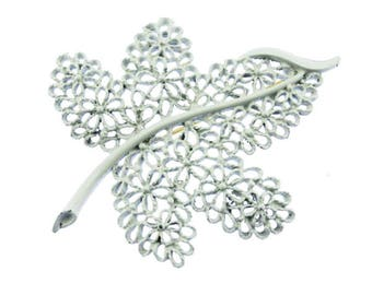White Enamel Leaf Brooch, White Enamel Leaf Pin, White Leaf Brooch, White Leaf Pin, Large White Enamel Brooch, White Enamel Pin