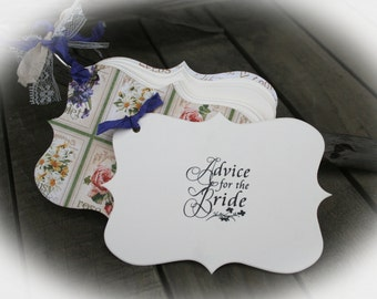 Garden Bridal Shower | Advice for the Bride | Bridal Shower Ideas | Bridal Shower games | Bridal games-Ivory Cardstock- Choice of ribbon