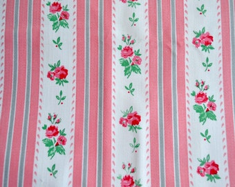 Vintage Fabric - Wide Stripe Pink Roses Ticking Canvas - By the Yard