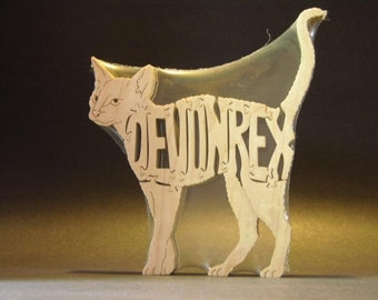 Devon Rex Cat Feline Wooden Animal Puzzle Toy Hand Cut  with Scroll Saw